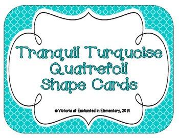Tranquil Turquoise Quatrefoil Shape Cards