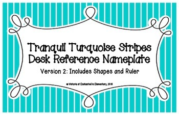 Tranquil Turquoise Stripes Desk Reference Nameplates Version 2