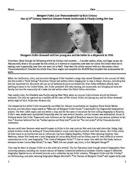 """Transcendentalism: Informational Text - """"Margaret Fuller,"""