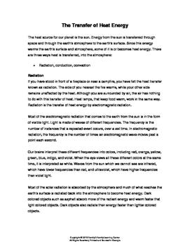 Transfer of Thermal Heat Worksheet
