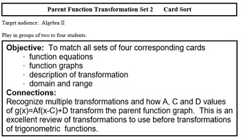 Transformation Function SET 2 Match (Precalculus)