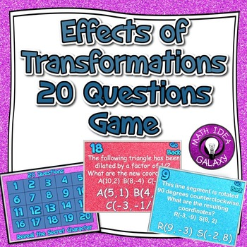Effects of Transformations 20 Questions Activity
