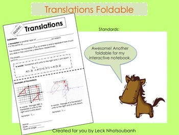Transformations: Translations Foldable for Interactive Notebooks