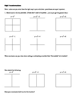 Transformations Investigation- Graphing Calculator Activity