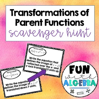Transformations of Graphs Scavenger Hunt Activity {Algebra 2}