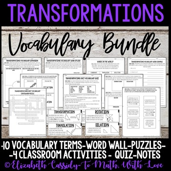 Transformations vocabulary-8th Grade-Common Core-Math