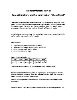Transformations/Parent Functions Part 1