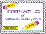 Transition Word Lists for Narrative and Expository Writing