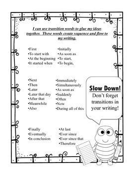 Transition Words printable -- writing workshop-- freebie