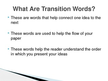 Transition and Descriptive Words (Powerpoint presentation