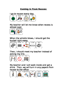 Transition from recess social story