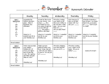 Transitional Kindergarten December #1 Homework Calendar an