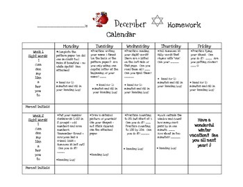 Transitional Kindergarten December #2 Homework Calendar an