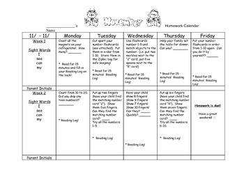 Transitional Kindergarten November #1 Homework Calendar &