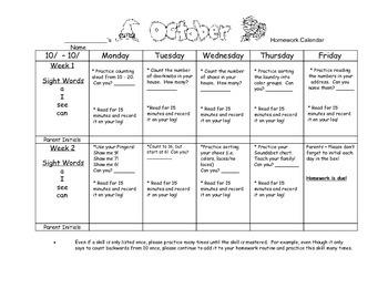 Transitional Kindergarten October #2 Homework Calendar & R