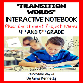 Transitions Interactive Notebook, Lessons, Practice and Wr