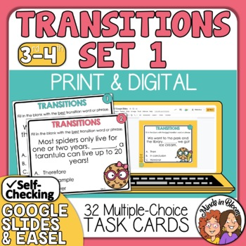 Transitions Task Cards,  Linking words and phrases, Connec