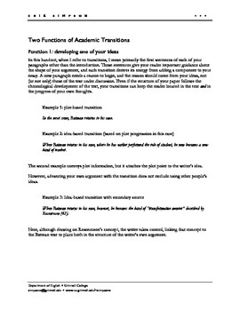 Transitions for Academic Papers