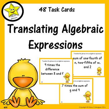 Translating Algebraic Expressions Task Cards
