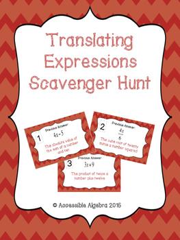Translating Expressions Scavenger Hunt