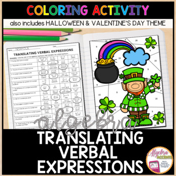 Translating Verbal Expressions Coloring Activity HALLOWEEN Theme