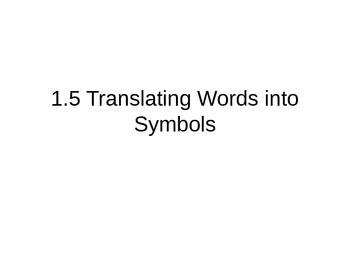 Translating Words into Symbols - Pre-Algebra