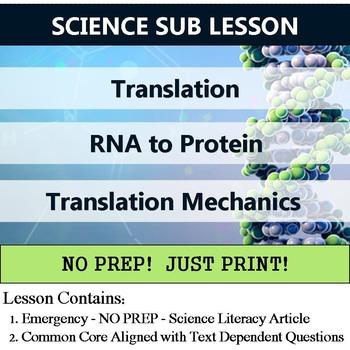 Translation - Gene to Protein Homework or Sub Lesson Plan
