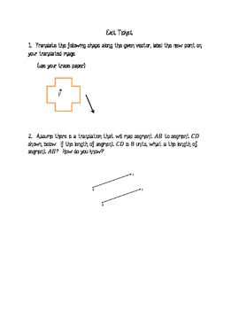 Translations Along a Vector - Exit Ticket