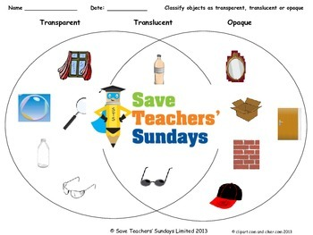 Transparent, translucent or opaque Lesson plan and Workshe