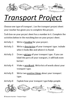 Transport - Transport Mini Project - Great for Younger Students