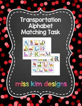 Transportation Alphabet Matching Folder Game