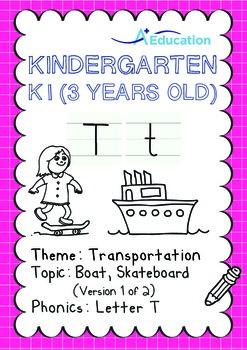 Transportation - Boat, Skateboard (I): Letter T - K1 (3 ye