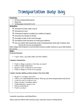Transportation Busy Bag