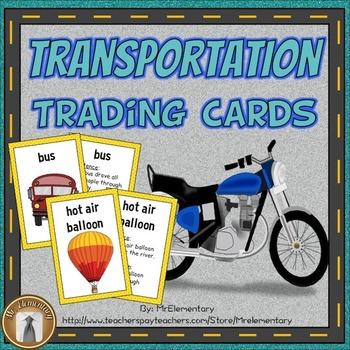 Transportation Vocabulary Trading Cards