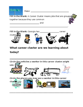 Transportation Career Cluster Worksheet