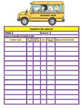 Transportation Checklist with Peanuts Gang
