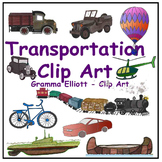 Transportation Realistic Clip Art Train Boat Canoe Helicop