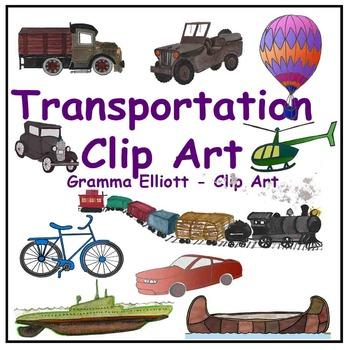 Transportation Realistic Clip Art Train Boat Canoe Helicop