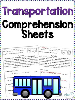 Transportation Comprehension Pack