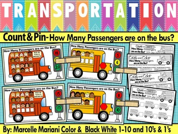 Transportation- Count & Pin Math Center (1-10 & 10's and 1