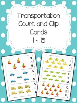 Transportation Count and Clip Cards 1-15