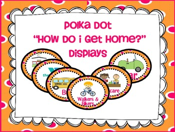"Transportation/ ""How Do I Get Home"" Display Cards {polka dots}"