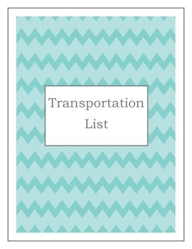 Transportation List (Two color choices)