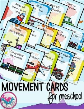 Transportation Movement Cards for Preschool