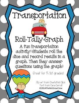 Transportation Roll Tally Graph Math Activity Set
