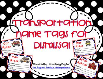 Transportation Tags for Dismissal (Editable)