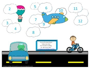 Transportation Theme Roll and Cover Game 2-12