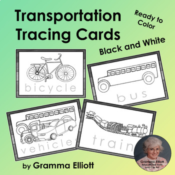 Transportation Word Tracing Cards - Ready to Color Your Ow