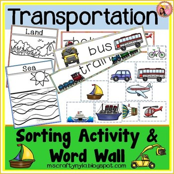 Transportation Word Wall and Sorting Activity