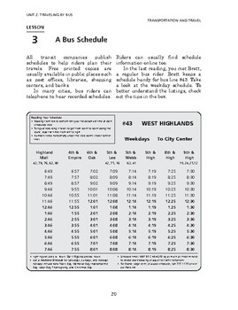 Transportation and Travel: Traveling by Bus-A Bus Schedule